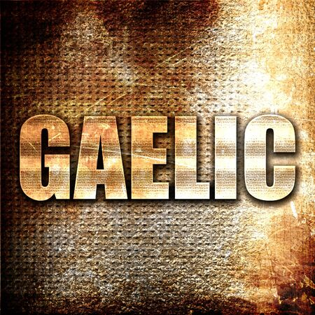 gaelic: gaelic, 3D rendering, metal text on rust background Stock Photo