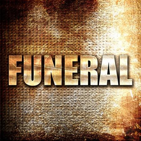 undertaker: funeral, 3D rendering, metal text on rust background