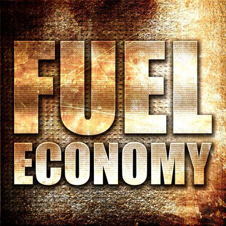 fuel economy: fuel economy, 3D rendering, metal text on rust background
