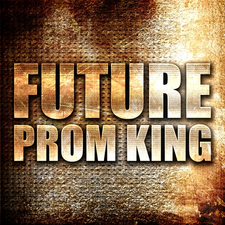 prom queen: prom king, 3D rendering, metal text on rust background Stock Photo