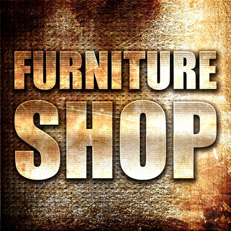 furniture shop: furniture shop, 3D rendering, metal text on rust background Stock Photo