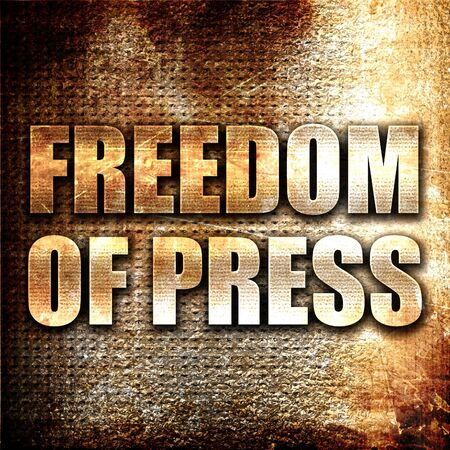 newsman: freedom of press, 3D rendering, metal text on rust background
