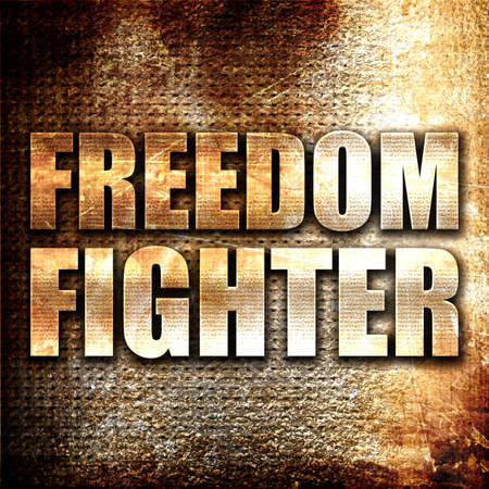 freedom fighter: freedom fighter, 3D rendering, metal text on rust background Stock Photo