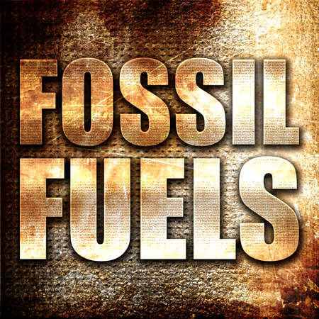 fossil fuels: fossil fuels, 3D rendering, metal text on rust background Stock Photo