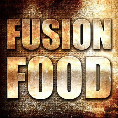 fusion: fusion food, 3D rendering, metal text on rust background