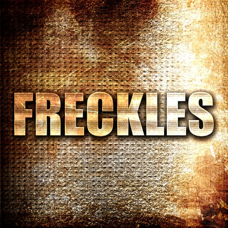 freckle: freckles, 3D rendering, metal text on rust background