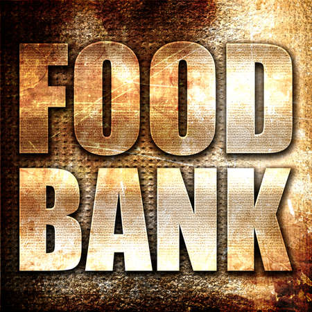 economic depression: food bank, 3D rendering, metal text on rust background Stock Photo