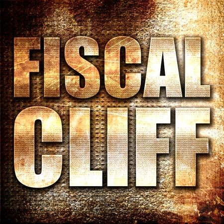 financial cliff: fiscal cliff, 3D rendering, metal text on rust background