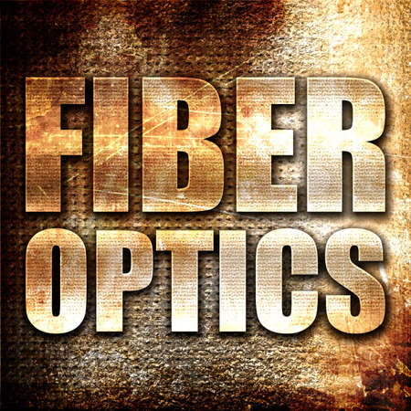 fiber optics: fiber optics, 3D rendering, metal text on rust background