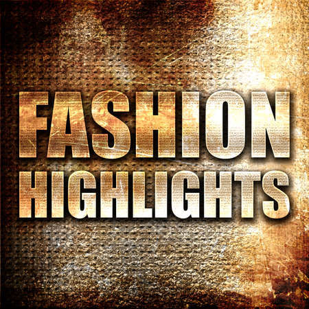highlights: fashion highlights, 3D rendering, metal text on rust background Stock Photo