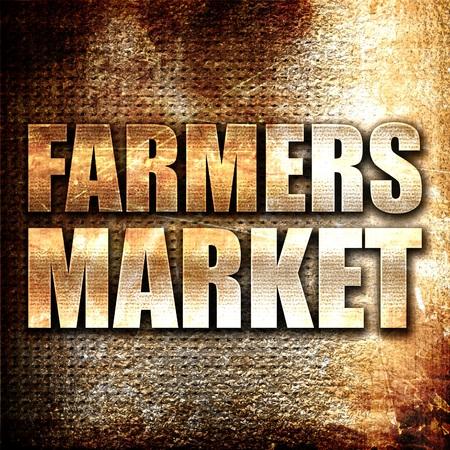 vegetare: farmers market, 3D rendering, metal text on rust background