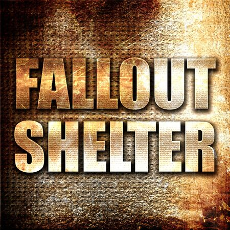 fallout: fallout shelter, 3D rendering, metal text on rust background