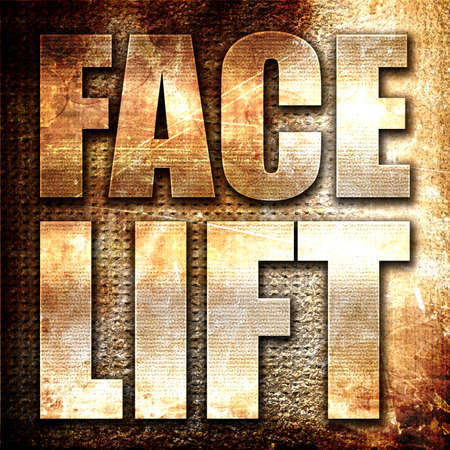 facelift: facelift, 3D rendering, metal text on rust background