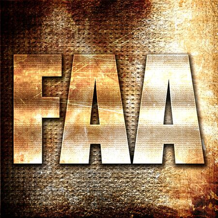 faa: faa, 3D rendering, metal text on rust background Stock Photo