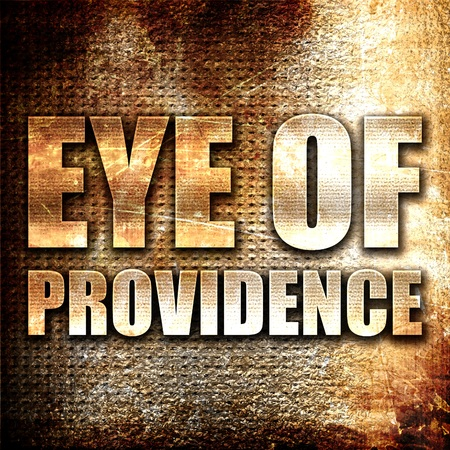 eye of providence: eye of providence, 3D rendering, metal text on rust background