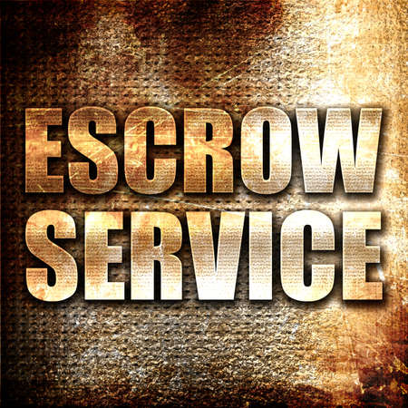 escrow: escrow service, 3D rendering, metal text on rust background