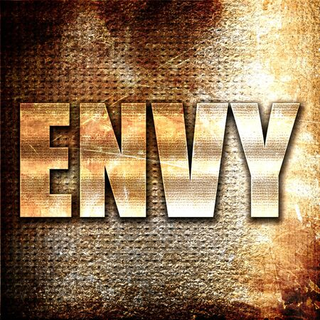 envy: envy, 3D rendering, metal text on rust background Stock Photo