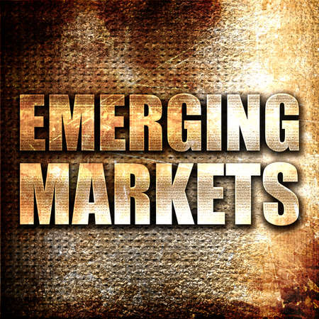 emerging markets: emerging markets, 3D rendering, metal text on rust background