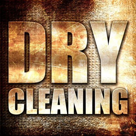 dry cleaning: dry cleaning, 3D rendering, metal text on rust background