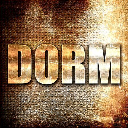 dorm: dorm, 3D rendering, metal text on rust background