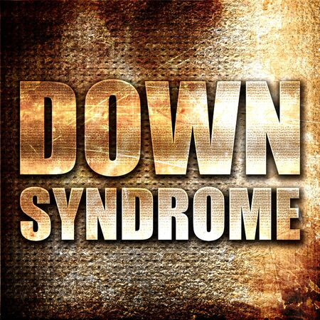 downs syndrome: down syndrome, 3D rendering, metal text on rust background