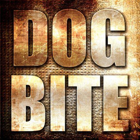 dog bite: dog bite, 3D rendering, metal text on rust background