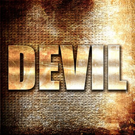 somber: devil, 3D rendering, metal text on rust background Stock Photo