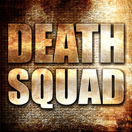 squad: death squad, 3D rendering, metal text on rust background