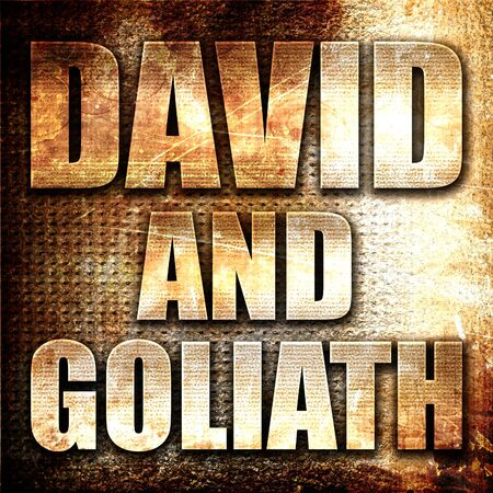 david and goliath: david and goliath, 3D rendering, metal text on rust background