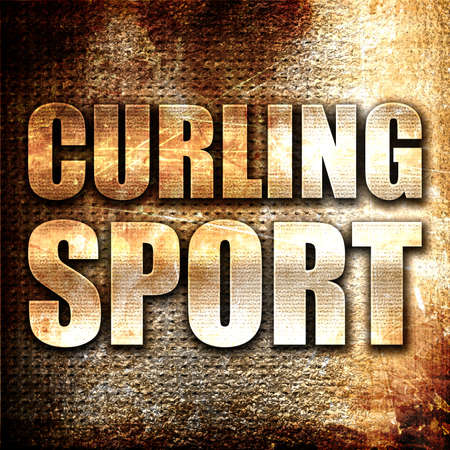 broom handle: curling sport, 3D rendering, metal text on rust background Stock Photo