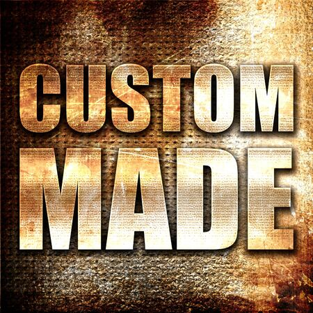 manful: custom made, 3D rendering, metal text on rust background