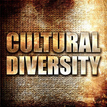 diversidad cultural: la diversidad cultural, 3D, texto del metal en fondo del moho