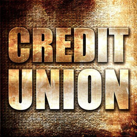 canadian cash: credit union, 3D rendering, metal text on rust background