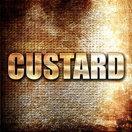 custard flavor: custard, 3D rendering, metal text on rust background