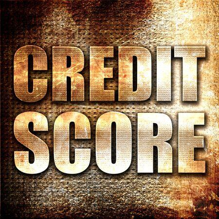 credit score: credit score, 3D rendering, metal text on rust background