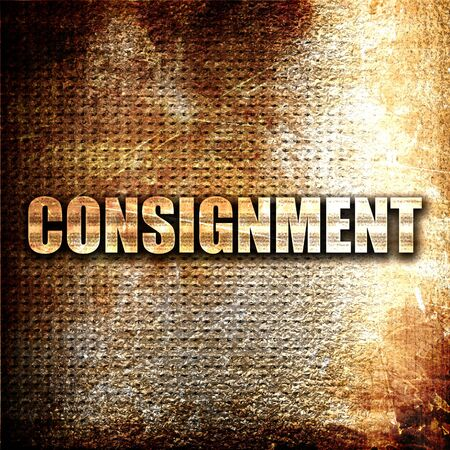 consignment: consignment, 3D rendering, metal text on rust background