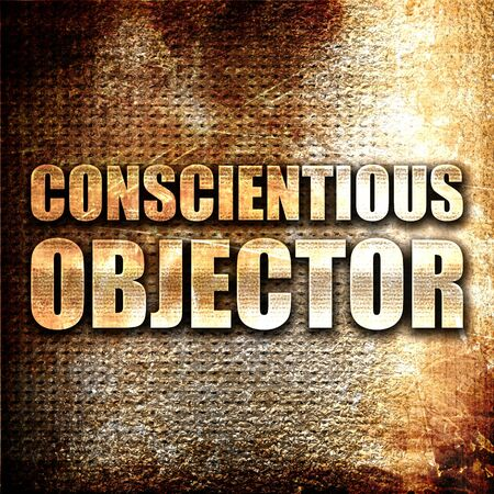 negation: conscientious objector, 3D rendering, metal text on rust background