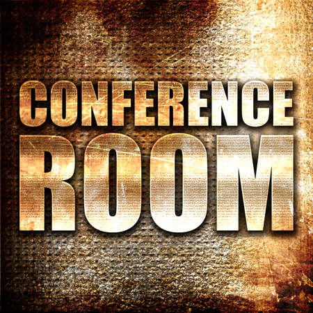 text room: conference room, 3D rendering, metal text on rust background