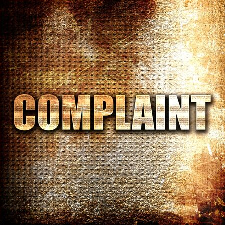complaint: complaint, 3D rendering, metal text on rust background Stock Photo