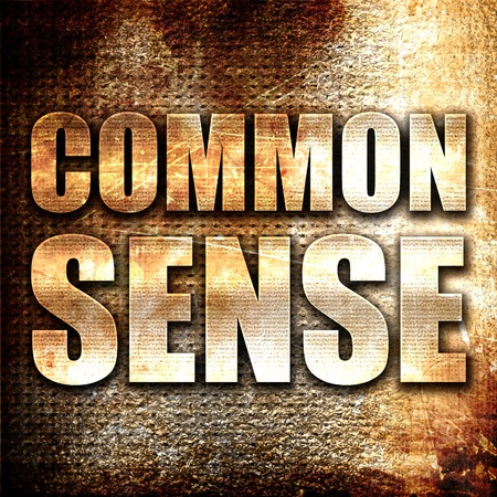 common sense: common sense, 3D rendering, metal text on rust background