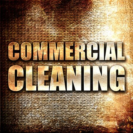 charlady: commercial cleaning, 3D rendering, metal text on rust background