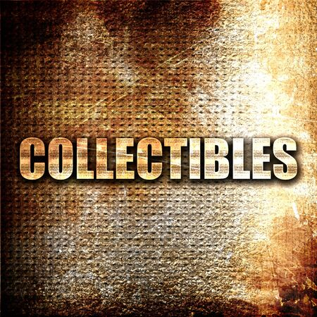 collectibles: collectibles, 3D rendering, metal text on rust background