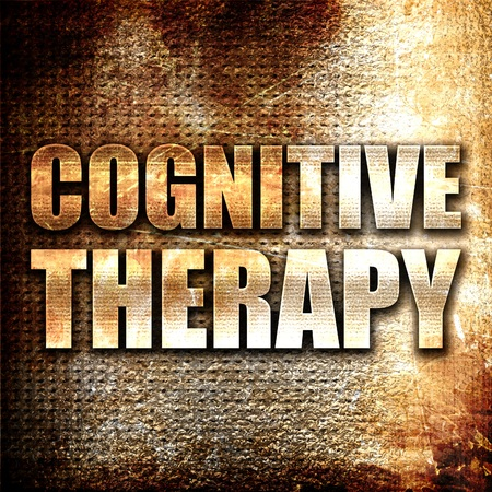 cognitive: cognitive therapy, 3D rendering, metal text on rust background