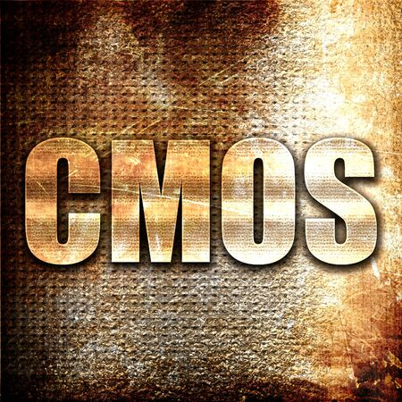 cmos: cmos, 3D rendering, metal text on rust background