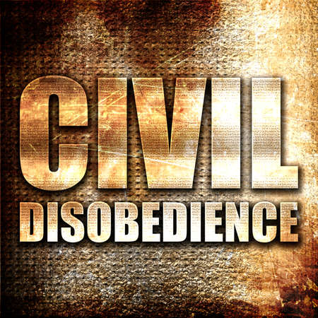disobedience: civil disobedience, 3D rendering, metal text on rust background Stock Photo