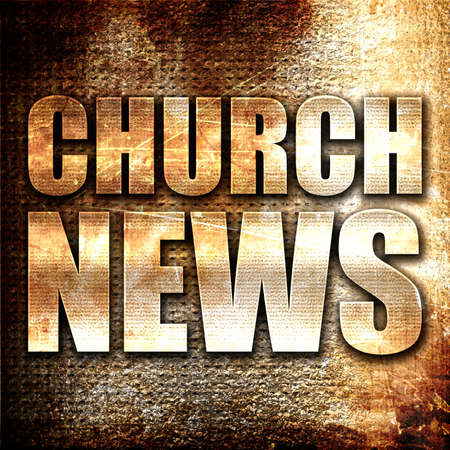 church 3d: church news, 3D rendering, metal text on rust background Stock Photo