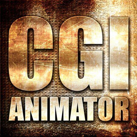 cgi: cgi animator, 3D rendering, metal text on rust background