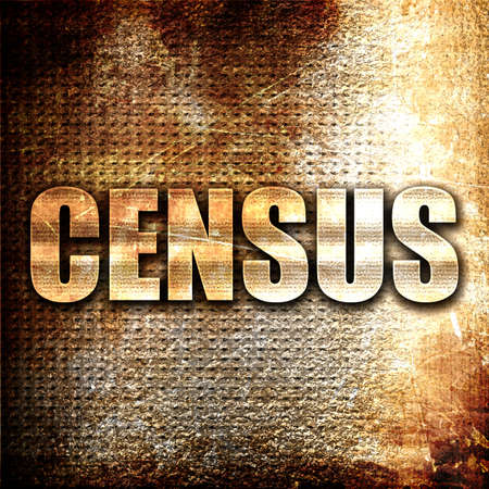 census: census, 3D rendering, metal text on rust background Stock Photo