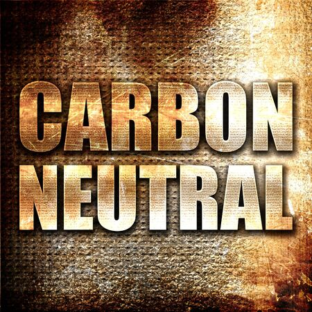 co2 neutral: carbon neutral, 3D rendering, metal text on rust background