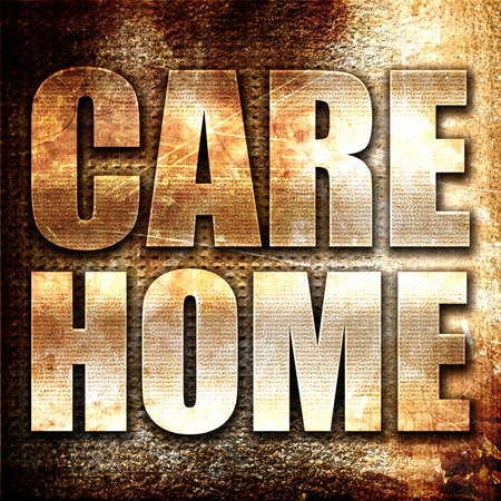 socially: care home, 3D rendering, metal text on rust background